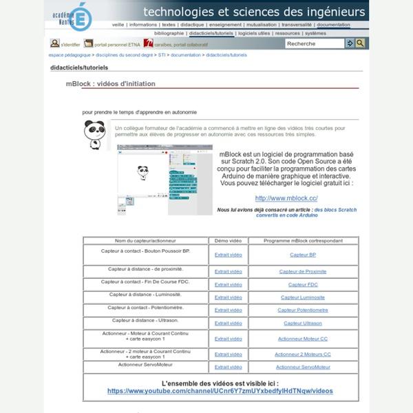 Technologies et sciences des ingénieurs - mBlock : vidéos d'initiation