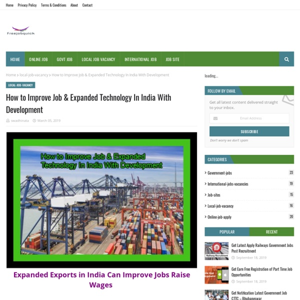 How to Improve Job & Expanded Technology In India With Development