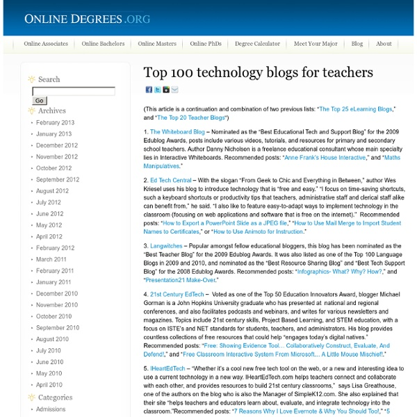 Top 100 technology blogs for teachers