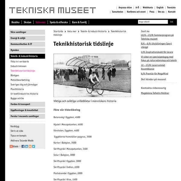 Teknikhistorisk tidslinje - Tekniska museet