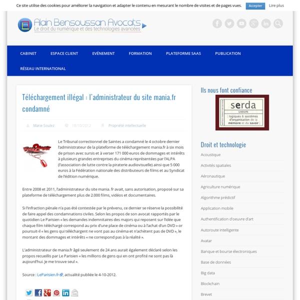Téléchargement illégal : l'administrateur du site mania.fr condamné