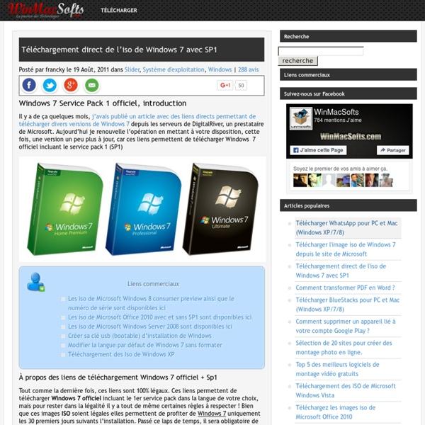 Téléchargement direct de l'iso de Windows 7 avec SP1