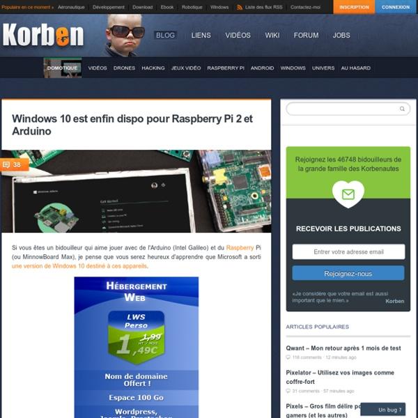 Télécharger gratuitement Windows 10 pour Raspberry Pi 2 et Arduino