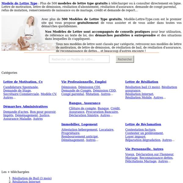 Modèles de lettre type gratuits : 500 Modèles de Lettre à télécharger gratuitement