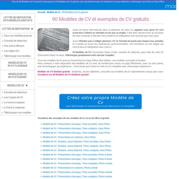 170 mod u00e8les de cv gratuits  des exemples de cv  curriculum vitae   u00e0 t u00e9l u00e9charger gratuitement