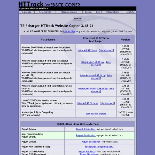 HTTrack, aspirateur de Sites Web