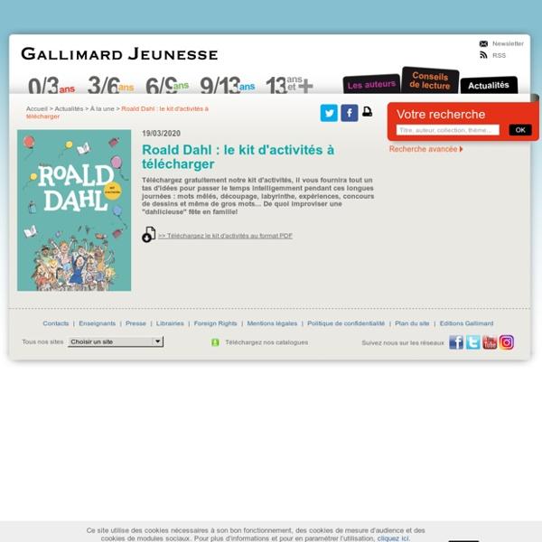 Roald Dahl : le kit d'activités à télécharger - À la une - Actualités - Livres pour enfants et éditeur de littérature jeunesse