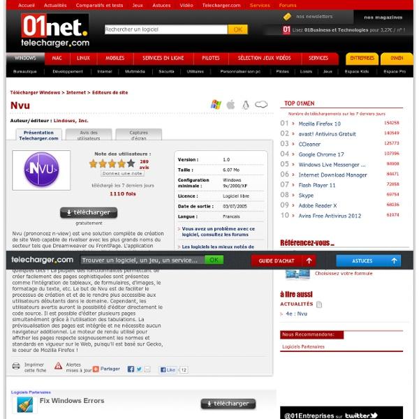 Télécharger Nvu - 01net.com - Telecharger.com