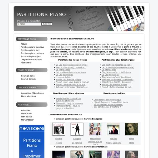 Téléchargez des partitions de piano gratuites - Recherche de partition
