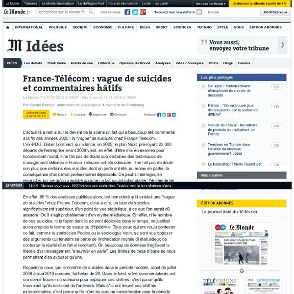 France-Télécom : vague de suicides et commentaires hâtifs