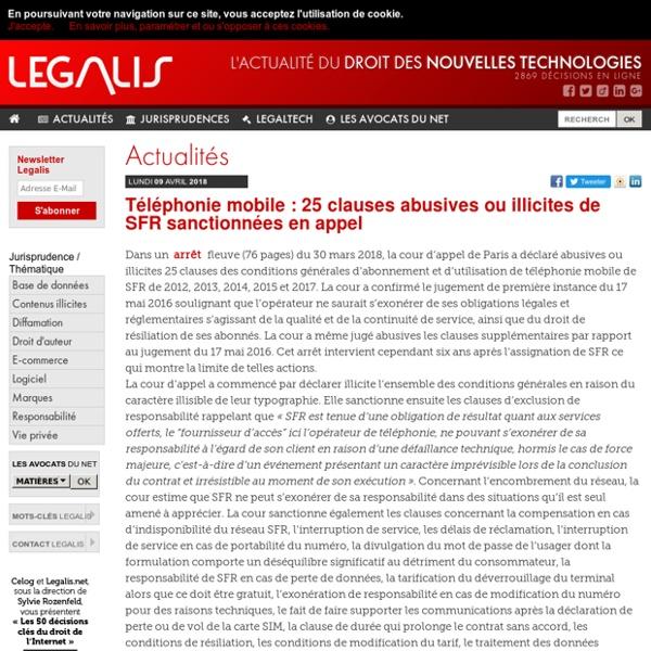 Téléphonie mobile : 25 clauses abusives ou illicites de SFR sanctionnées en appel
