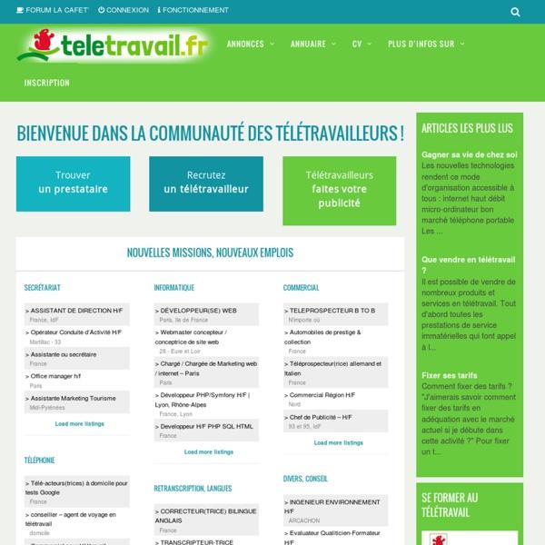 TELETRAVAIL: Télétravail - Travail à domicile - indépendant - salarié - Offre de Missions, d'emplois - Annuaire - Homeshoring