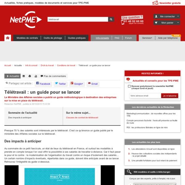 Télétravail : un guide pour se lancer NetPME