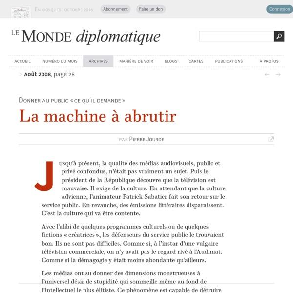 La machine à abrutir, par Pierre Jourde