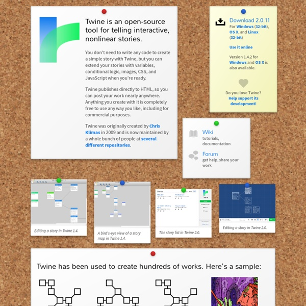 Twine: a tool for creating interactive stories