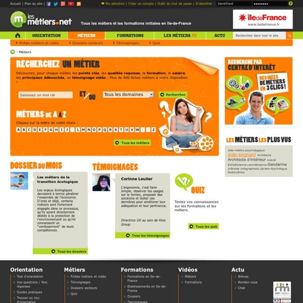 Métiers - Fiches métiers - Dossiers métiers - Témoignages - Tests et Quiz - Lesmetiers.net - Métiers