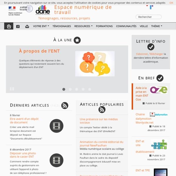 Espace numérique de travail - Témoignages, ressources, projets