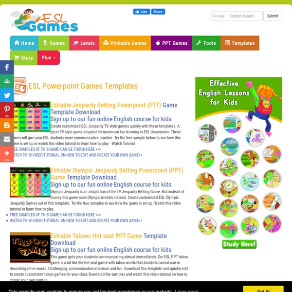 ESL Activity Templates Customizable Board Games PPT