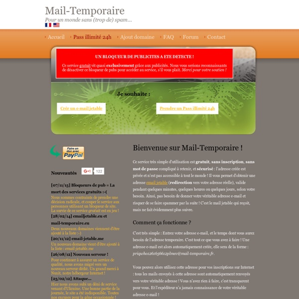 Mail-Temporaire : Créer une adresse email jetable, temporaire et anonyme