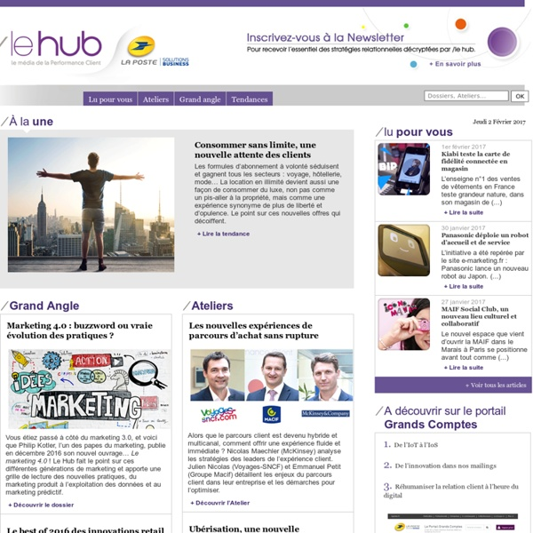 Tendances du marketing relationnel, consommation- La Poste entreprise : Le'Hub