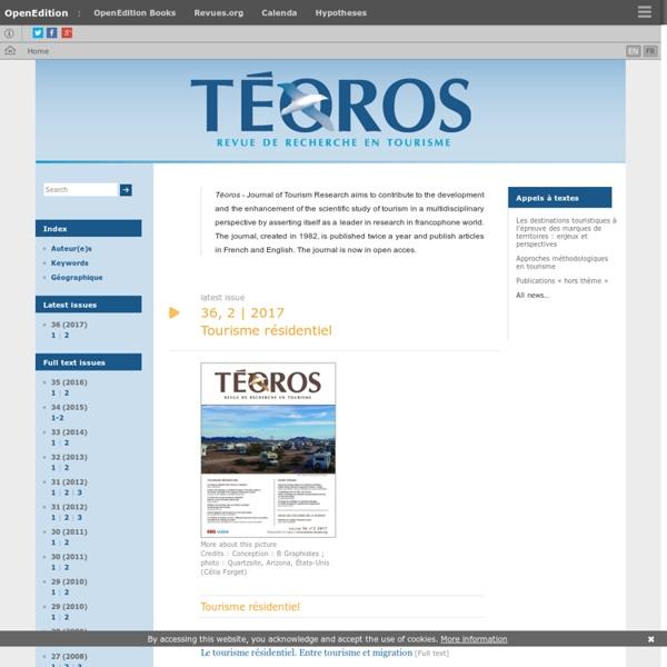 Téoros - Revue de recherche en tourisme