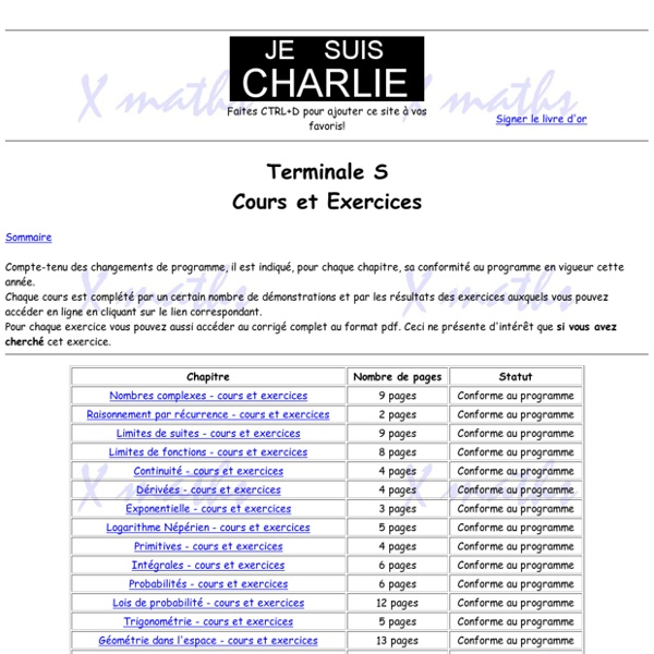 Terminale S - Cours et Exercices