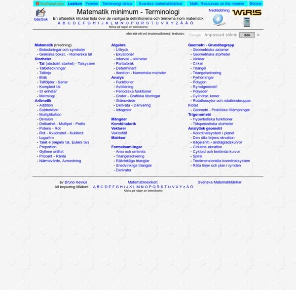 Matematik minimum - Terminologi och begreppsförklaring