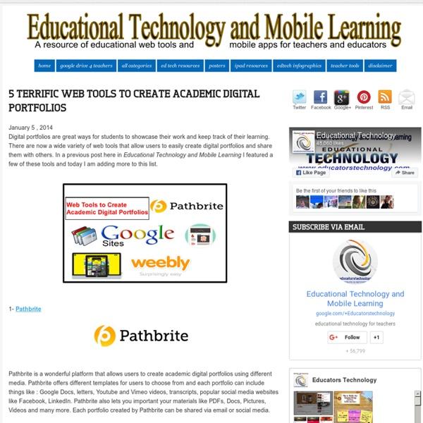 5 Terrific Web Tools to Create Academic Digital Portfolios