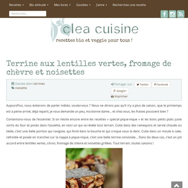 Terrine aux lentilles vertes, fromage de chèvre et noisettes