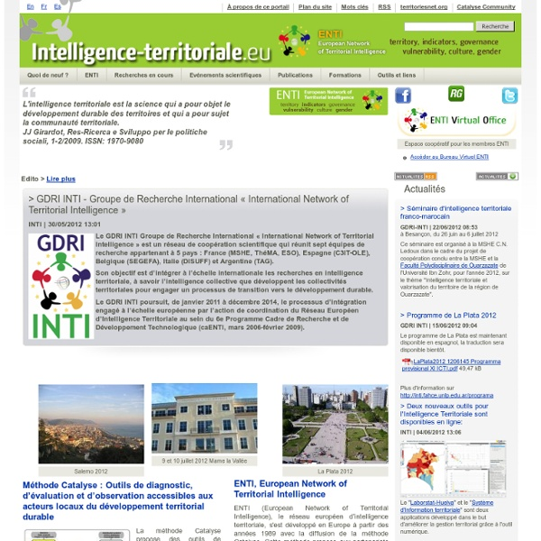 Territorial Intelligence Portal. Knowledge, Methods, Governance and tools for action