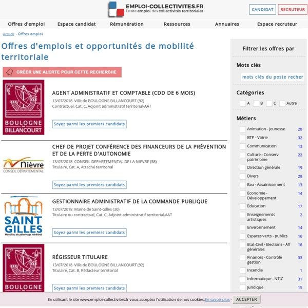 Emploi-Collectivités : consultez nos annonces récentes et Offres d'emploi pour la fonction publique