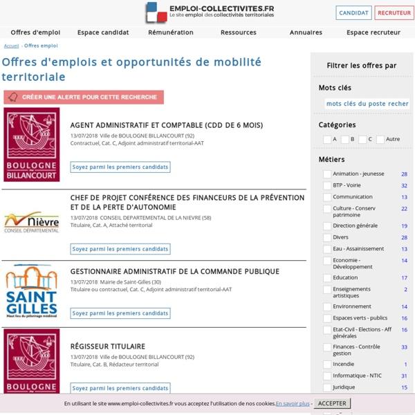 Cap sur les emplois publics du cadre territorial – offres emplois territoriales