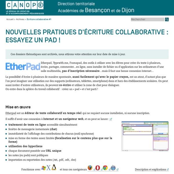 CRDP de l'académie de Besançon : Écriture collaborative #1