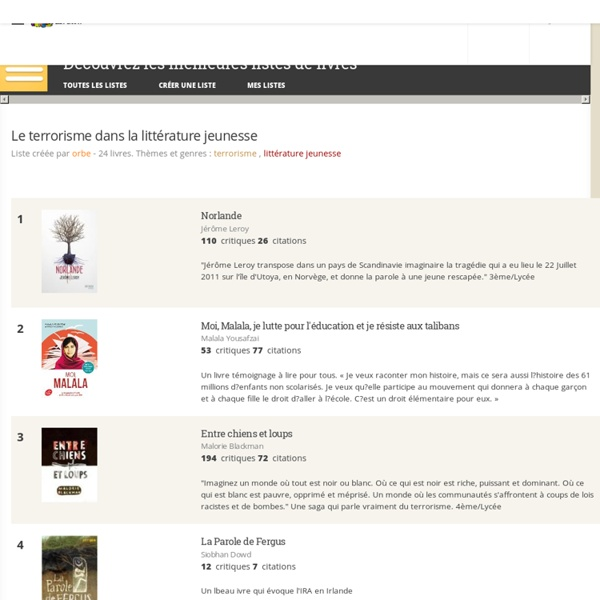Le terrorisme dans la littérature jeunesse - Liste de 15 livres