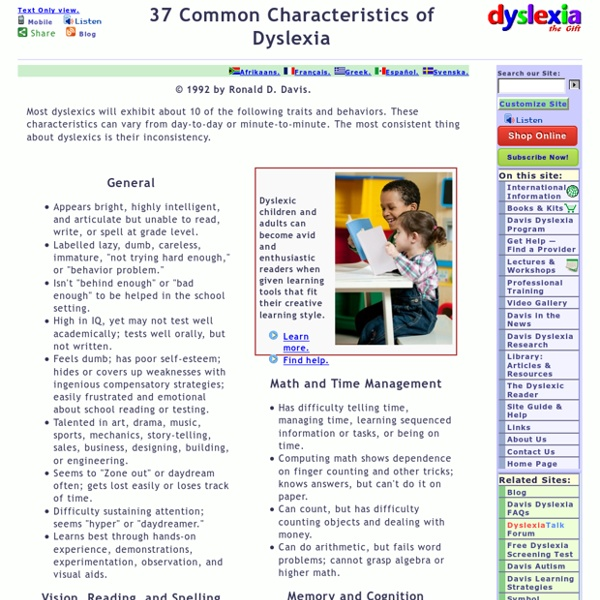 Test for Dyslexia: 37 Common Symptoms