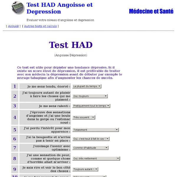Test HAD Angoisse et Depression