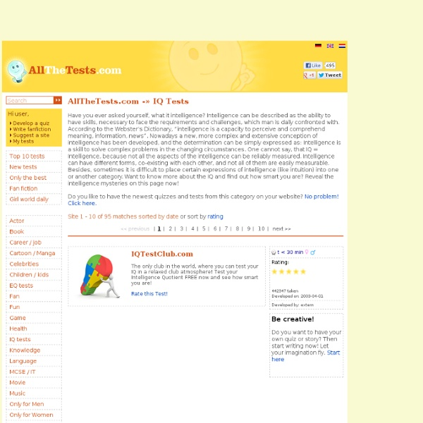 IQ Test (Intelligence Test). More than 50 Intelligence Tests for all ages