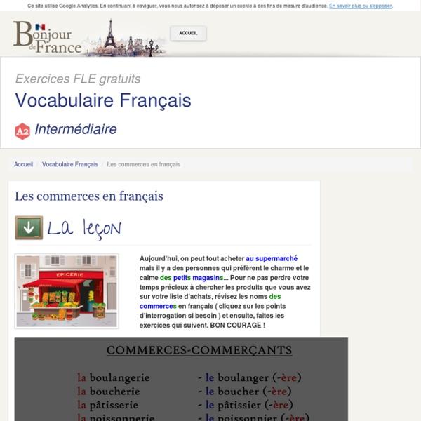 Les commerces en français - Intermédiaire