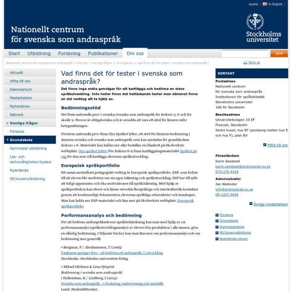 Vad finns det för tester i svenska som andraspråk?