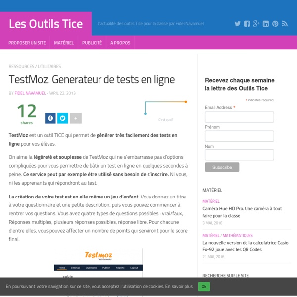 TestMoz. Generateur de tests en ligne