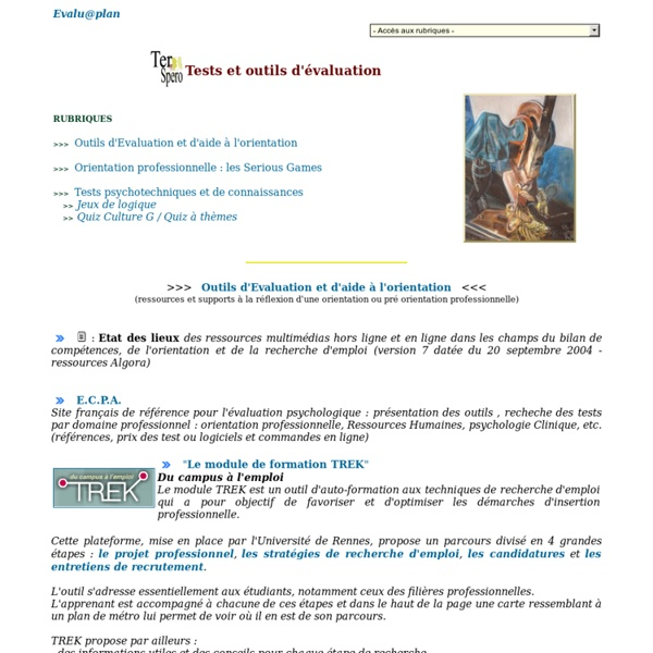 Tests et outils d'Evaluation