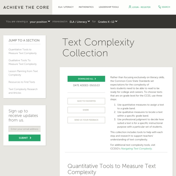 Text Complexity Collection