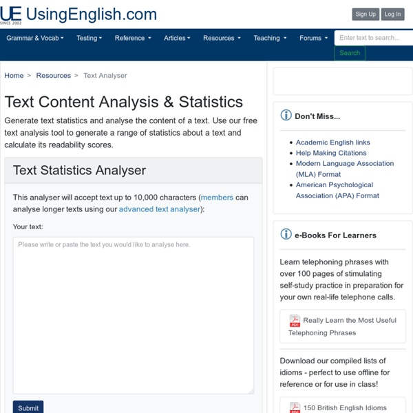 Text Content Analyser