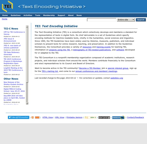 TEI: Text Encoding Initiative