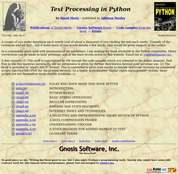Text Processing in Python (a book)