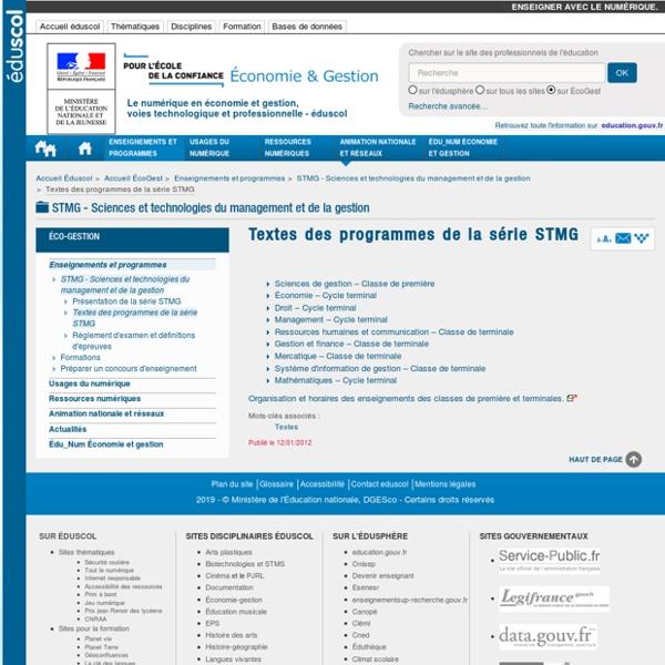 Textes des programmes de la série STMG — éduscol, le site des professionnels de l'éducation