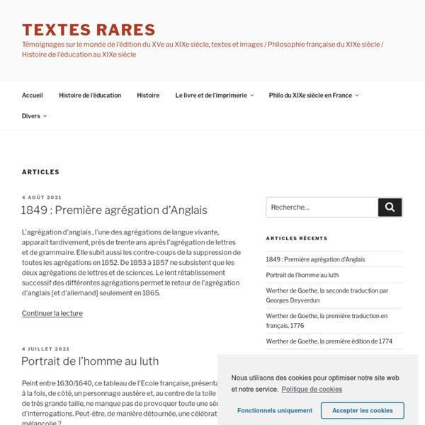Textes rares - Accueil