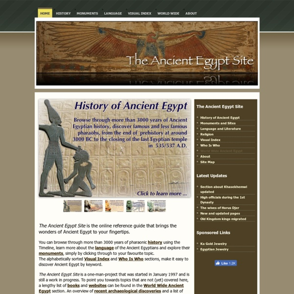 The Ancient Egypt Site - The History, Language and Culture of Pharaonic Egypt