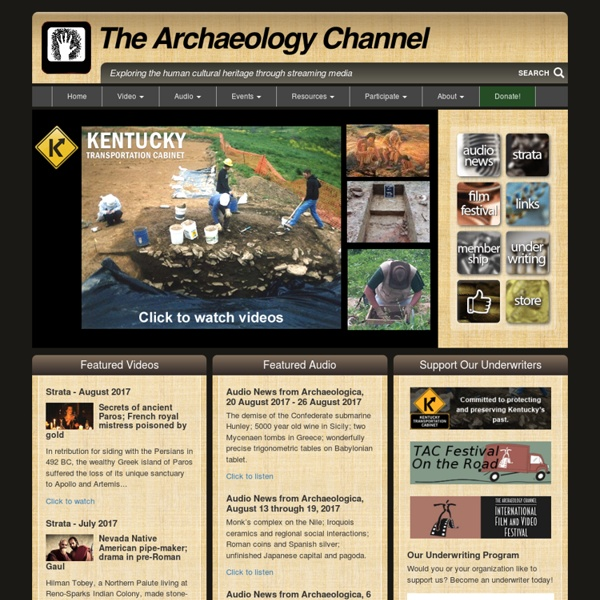 The Archaeology Channel - Welcome