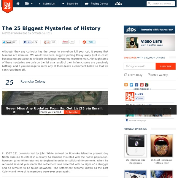 The 25 Biggest Mysteries of History